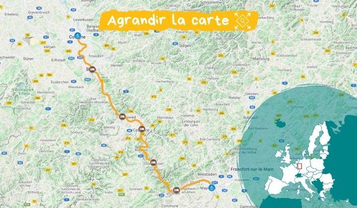 Itinéraire Le Rhin, de Cologne à Mayence à velo et bateau