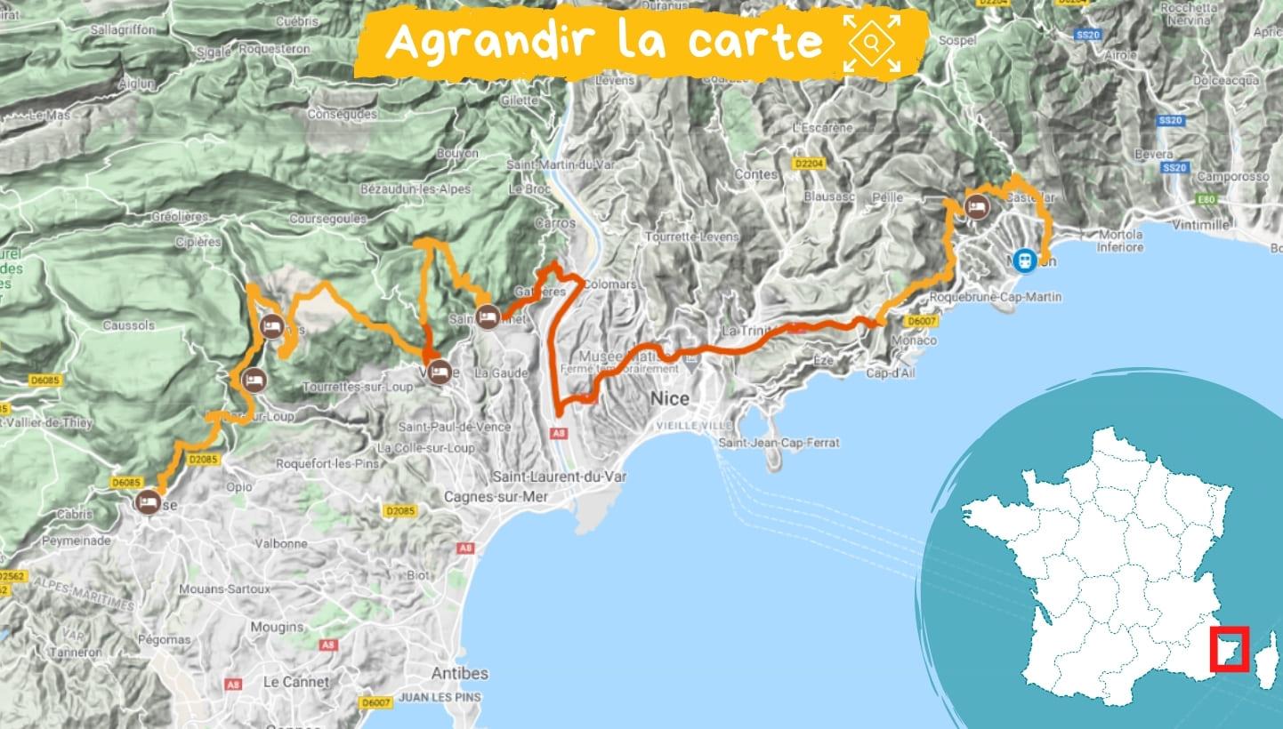 Itinéraire les Balcons de la Côte d'Azur