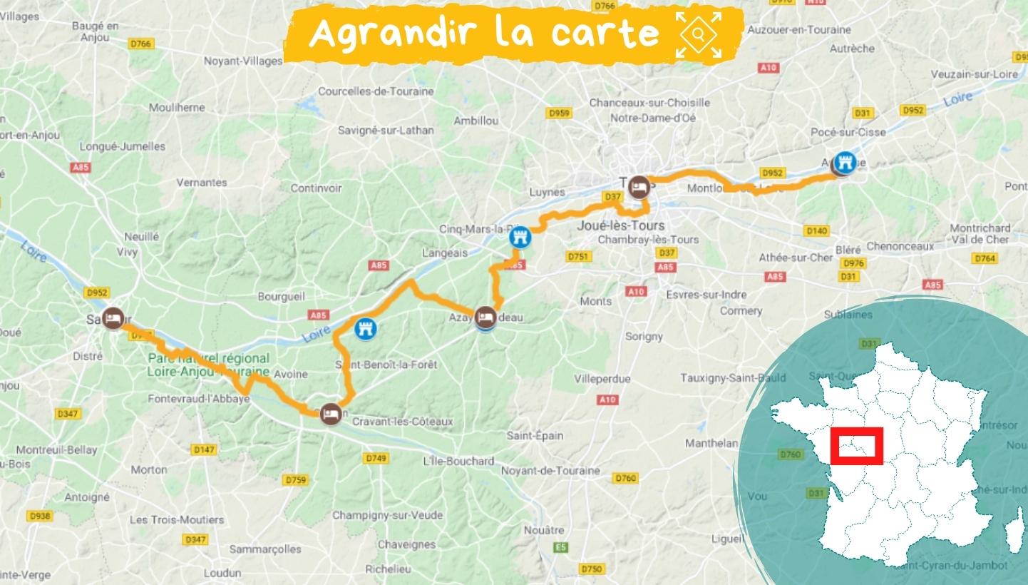 Itinéraire les châteaux de la Loire en famille, d'Ambroise à Saumur