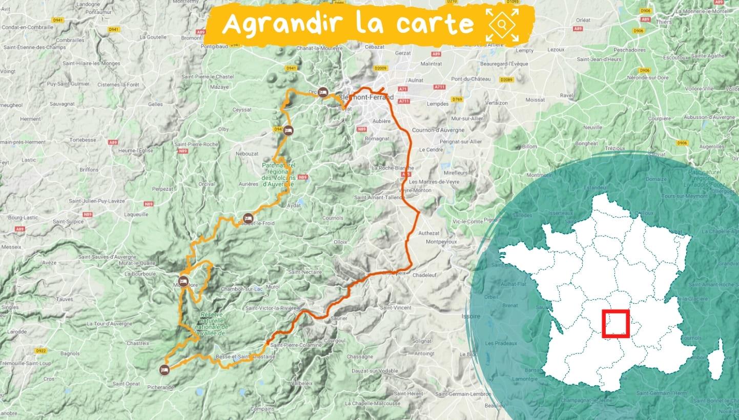 Itinéraire Parc des volcans d'Auvergne