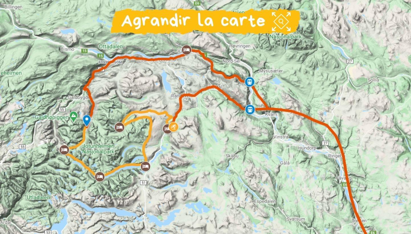 Itinéraire ski de rando nordique tour jotunheimen norvège
