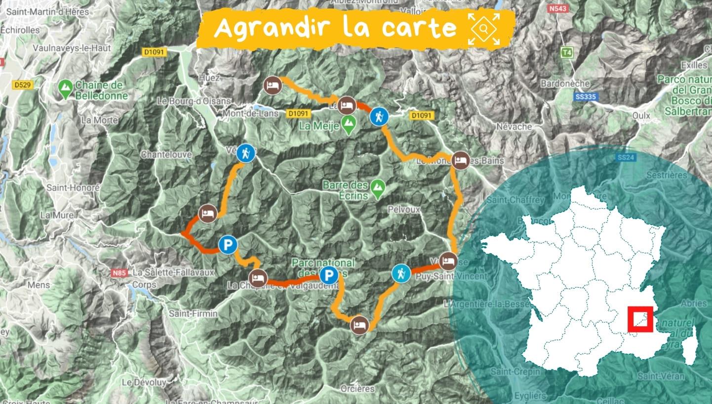 Itinéraire Tour de l'Oisans