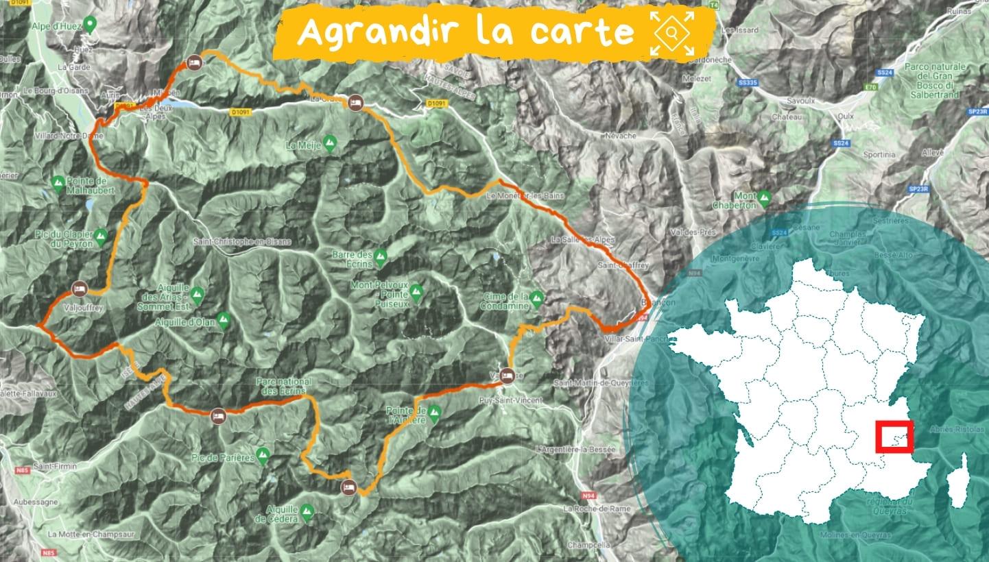 Itinéraire Tour de l'Oisans en guidé
