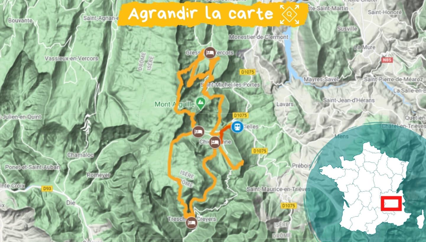 Itinéraire tour des hauts plateaux du Vercors et du mont Aiguille