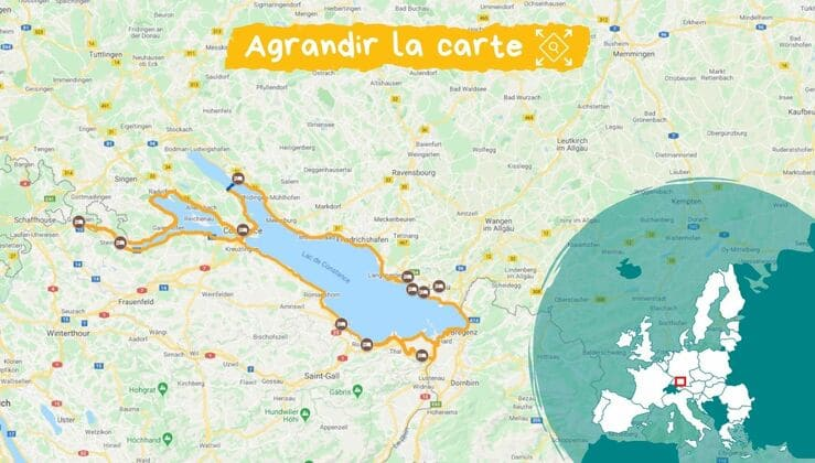 Carte itinéraire tour du lac de constance vélo