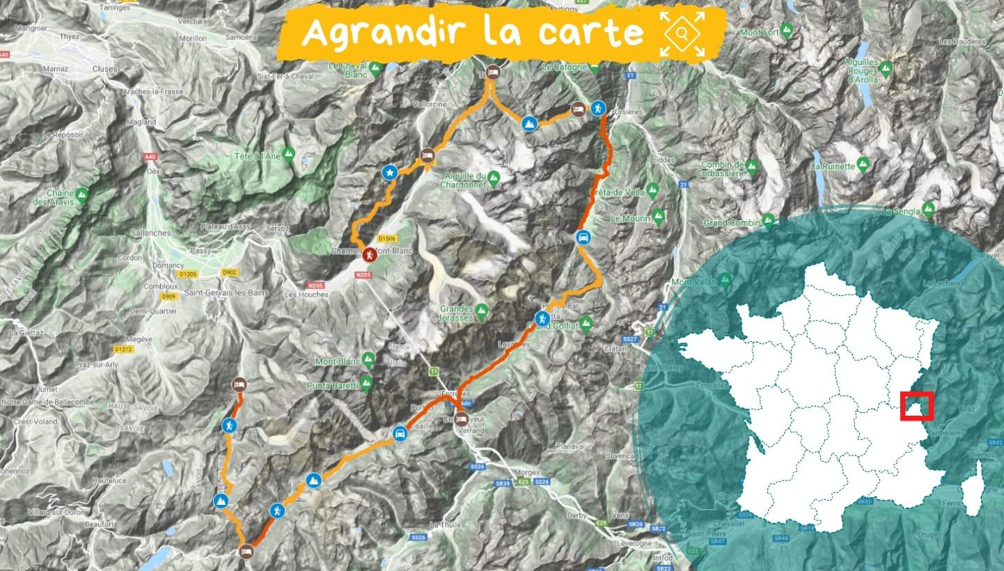 Itinéraire Tour du Mont Blanc