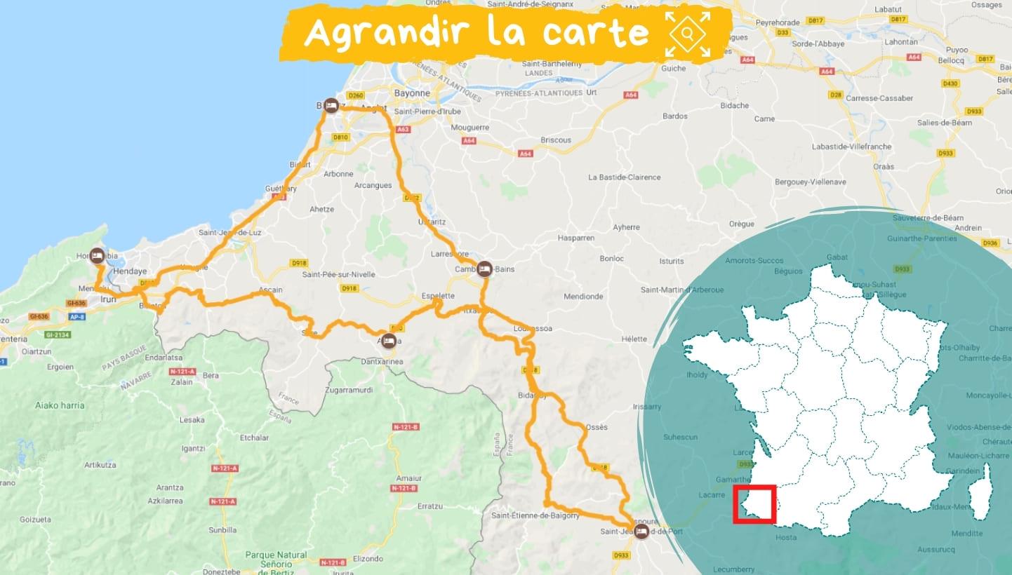 Itinéraire Tour du Pays Basque à vélo