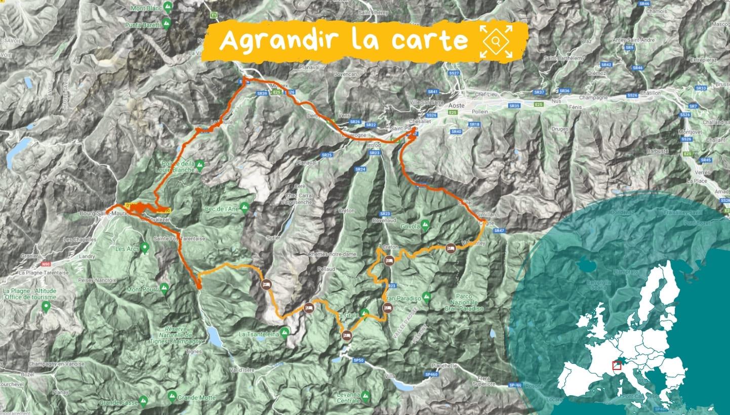 Itinéraire Traversée du Grand Paradis