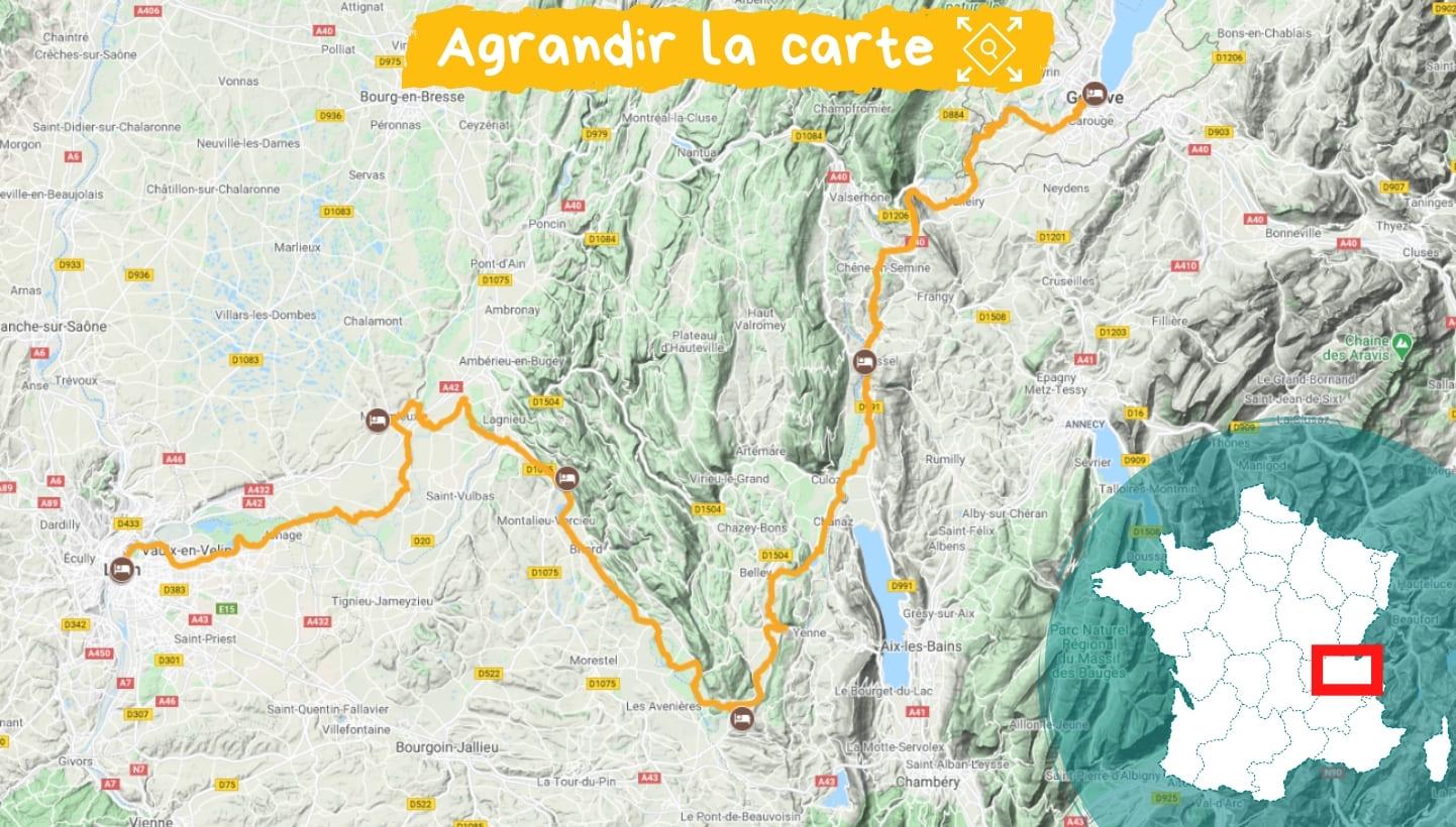 Itinéraire ViaRhôna de Genève à Lyon