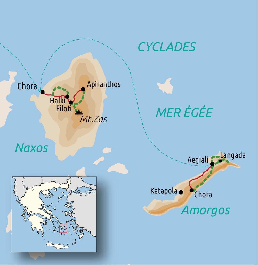 Carte du voyage Les Cyclades : Naxos et Amorgos