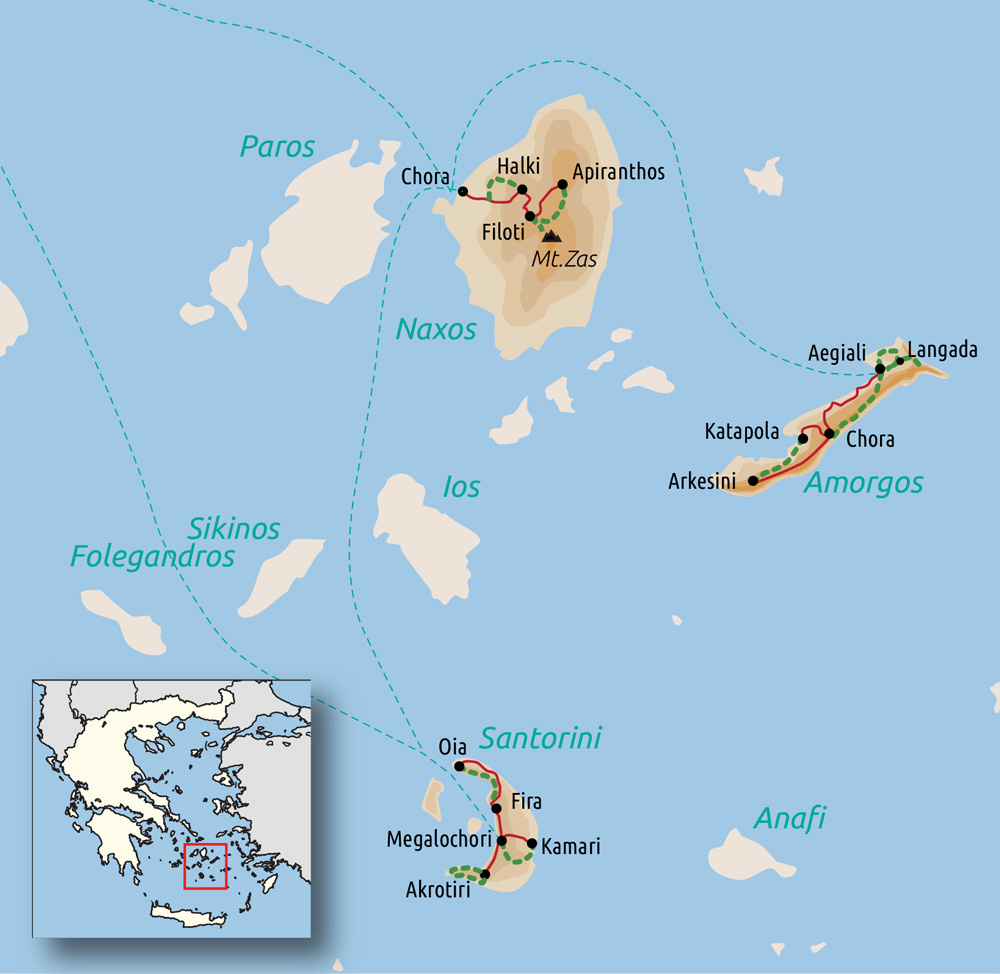 Carte du voyage Les Cyclades : Naxos, Amorgos et Santorin