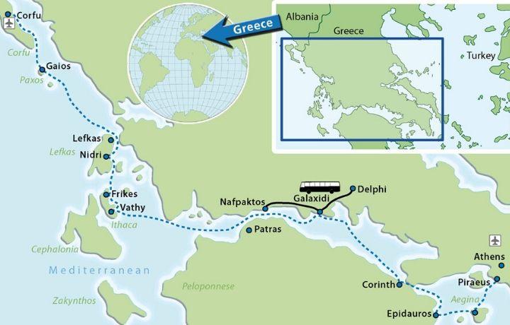 Carte du voyage à vélo liberté : Le Golfe de Corinthe et les îles Ioniennes, de Corfou à Athènes à vélo bateau