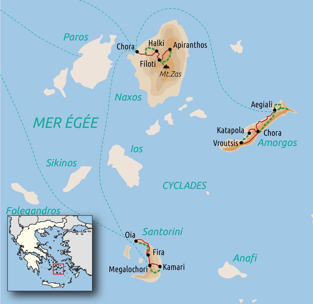 Carte : Cyclades orientales : Santorin, Naxos et Amorgos