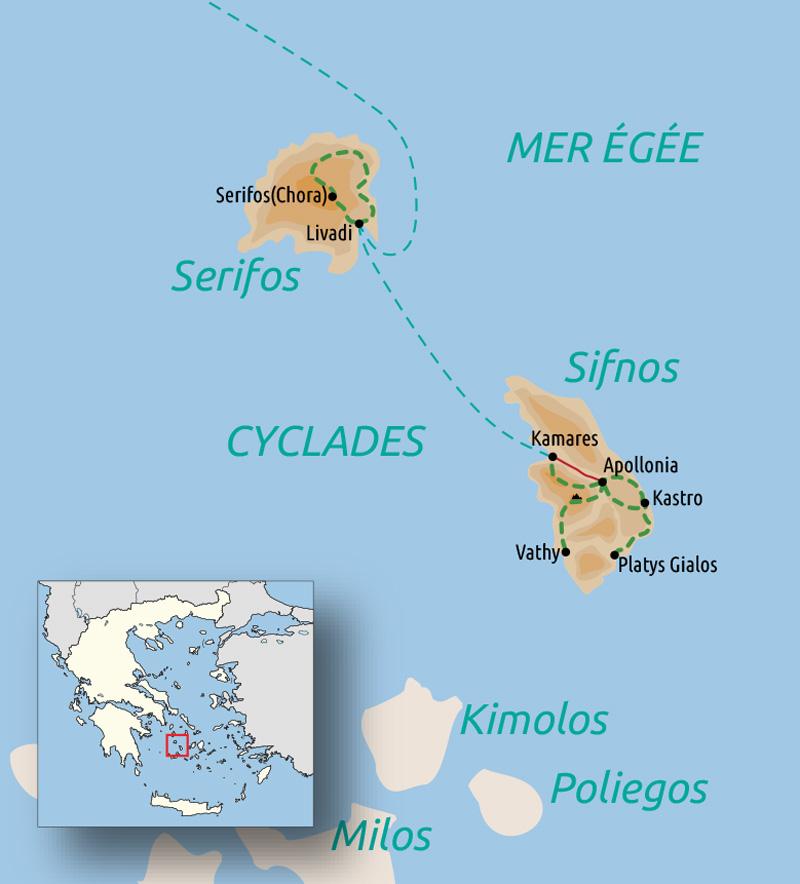 Carte du voyage Cyclades : Sérifos, l'île de Persée et Sifnos, l'île d'Apollon